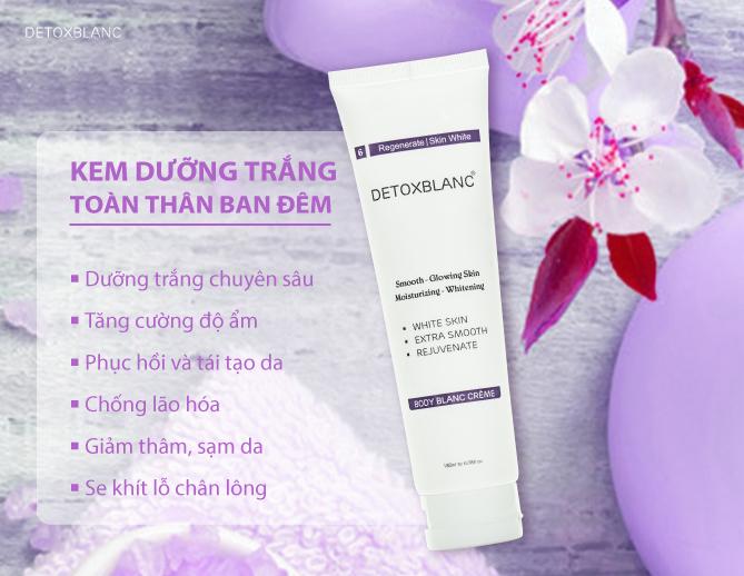 Chăm sóc da cùng Kem dưỡng trắng da ban đêm Detox Blanc Body