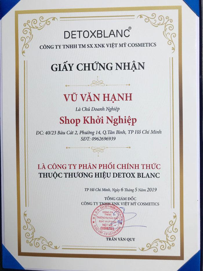 Chứng nhận NPP mỹ phẩm Detox Blanc Chính Hãng