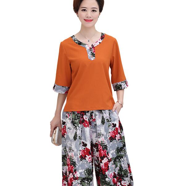 Chất liệu cotton mềm mát, kiểu dáng thời trang, sành điệu vô cùng phù hợp với phụ nữ trung niên