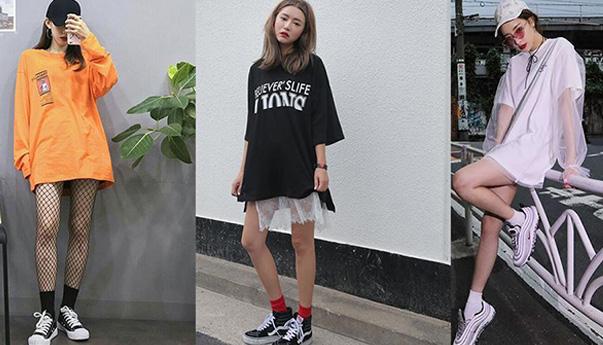 Phối áo phông rộng cùng với quần ngắn, giày thể thao, tôn được đôi chân dài của phái đẹp. Phong cách này có xu hướng thể thao, mạnh mẽ