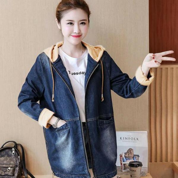 Áo khoác jean nữ có dây kéo