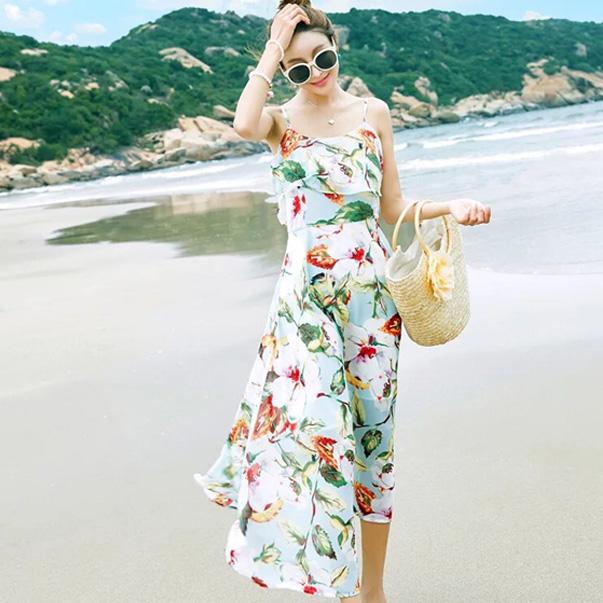 Váy đi biển nữ 2 dây hoa khoe vai trần gợi cảm