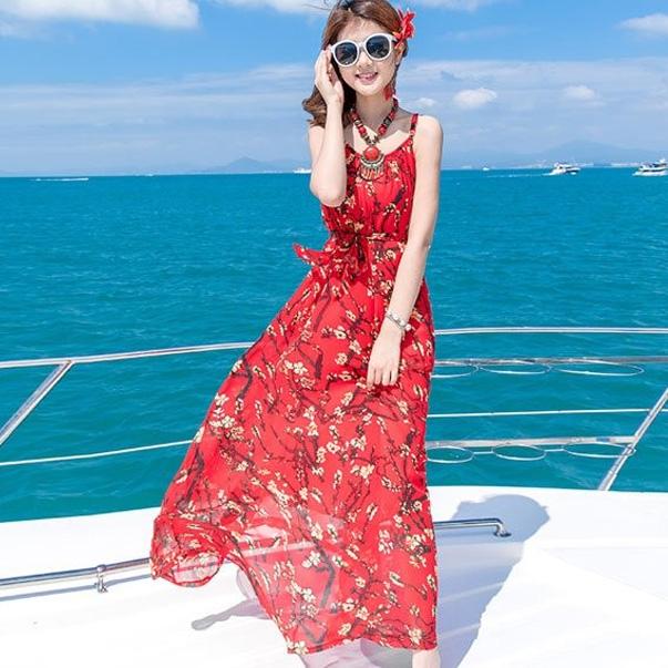 Maxi hoa đi biển trẻ trung, năng động, tôn dáng cực tốt